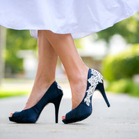 Wedding Shoes. Navy Blue Bridal Heels, Wedding Shoes with Ivory Lace. US Size 7.5