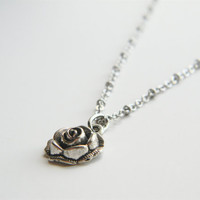 Long Necklace  Silver Necklace  Rose Pendant Necklace  by ByLolaB