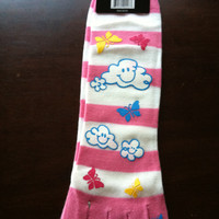 Fluffly Clouds Toe Socks with butterfly decals