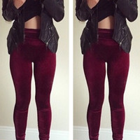 Velvet High-Waisted Leggings - Burgundy- FINAL SALE