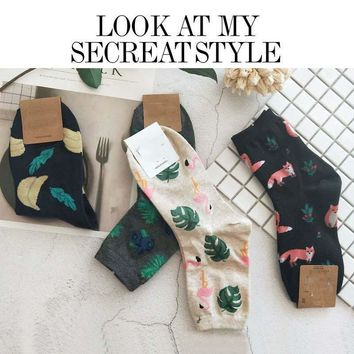 [WPLOIKJD]Art Socks Plants Printing Pattern Cute JacquardWomen Korean Animal/Cactus Socks Funny Socks