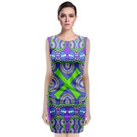 Purple Green Shapes Classic Sleeveless Midi Dress