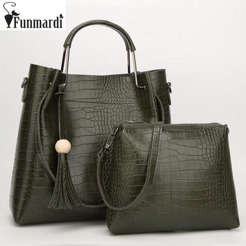 FUNMARDI Vintage Alligator Composite Bags Luxury Trendy Leather Handbags Star Style Totes Simple Design Shoulder Bags WLAM0006