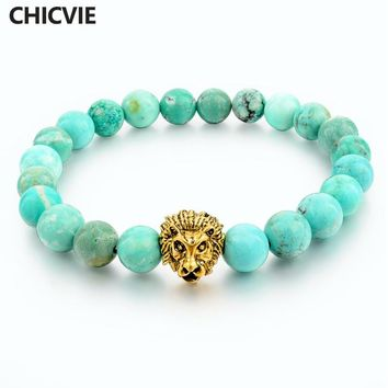 Green Natural Stone Gold color Lion Strand Bracelet Femme Beads Famous Brand Bracelets With Stones Men Jewelry 2016 SBR160001