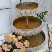 Large food tray three tiered dessert plate rusty rustic wedding home decor Anita Spero
