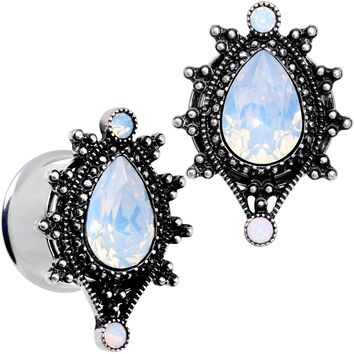 "5/8"" White Faux Opal Filigree Framed Double Flare Plug Set"