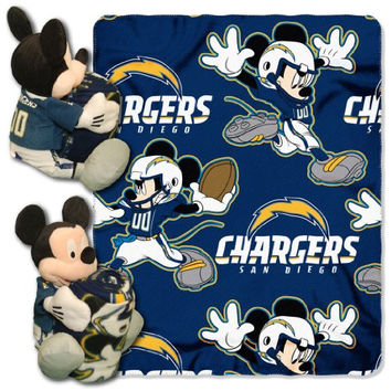 NFL San Diego Chargers Mickey Mouse Pillow with Fleece Throw Blanket Set