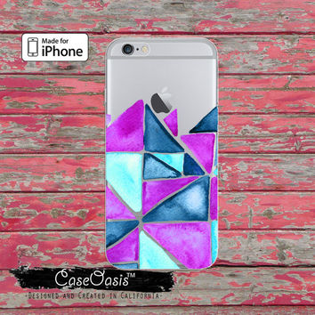 Triangle Pattern Purple Blue Watercolor Art Clear Case iPhone 6 iPhone 6s iPhone 6s Plus iPhone 5/5s iPhone 5c iPhone SE iPhone 7 Plus Case