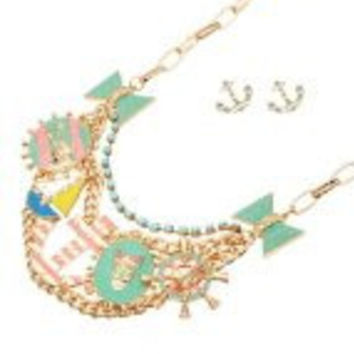 Womens Necklace & Earrings Set. Super Amazing Mint Tone Nautical Charms Necklace Set with Layered Chain. Lobster Clasp Closure.