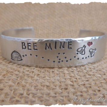 Valentine's Day Gift - Bee Mine - Personalized Hand Stamped Jewelry - hand stamped jewelry - cuff bracelet