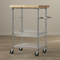 Kitchen Cart Bamboo Countertop With 4 Fixed Hooks Home Furniture Chrome Finish