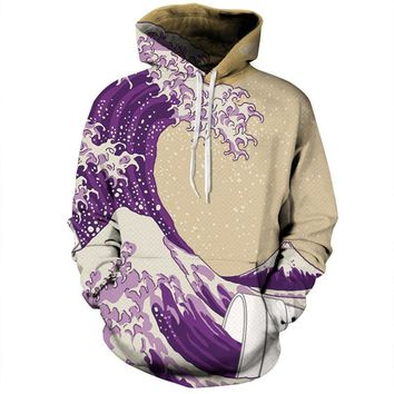 The Great Lean Wave All Over Full Print 3D Diy Sublimated Purple & Tan Polyester Blend Unisex Pullover Hoodie