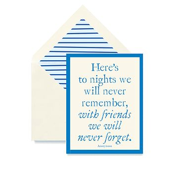 Here's To Nights We'll Never Remember Greeting Card, Single Folded Card or Boxed Set of 8