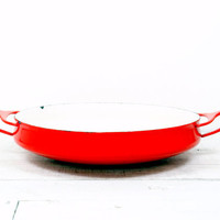 Dansk Kobenstyle Red Enamel Paella Buffet Serving Pan