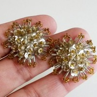 Deco Starburst Silver Sequins Seed Bead Screw Back Earrings Yellow