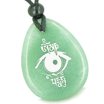 Amulet All Seeing Eye Ancient OM Tibetan Mantra Green Quartz Pendant Necklace