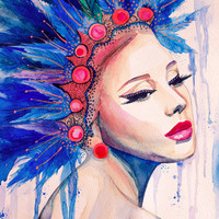 """Indian Girl watercolor painting print 8"""" x 12"""" Woman, Blue, Imperial blue, Cobalt,"""