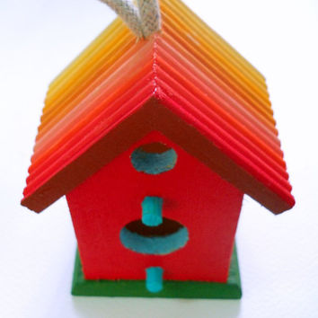 Rainbow Birdhouse one of a kind painted by PreciousBeast on Etsy