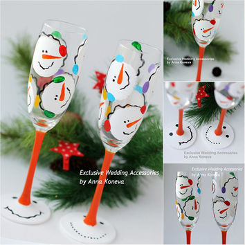 Christmas gift Christmas Wine Glasses Winter Snowmen Hand Painted Champagne Glasses  Xmas Holiday Gifts New Year Birthday Wedding Party