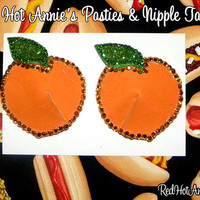 Rhinestone Delicious Peachy Peaches Burlesque Pasties (Orange)