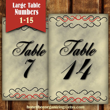 Printable Wedding Table Seating Cards - Reception Table Numbers - Black Table Numbers - DIY Table Number - Large Table Numbers