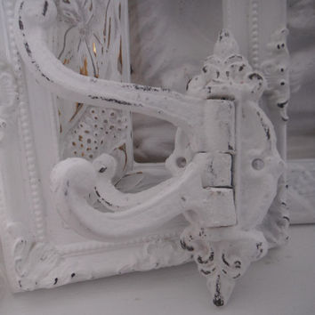 white victorian style wall hook swivel arm shabby by ShabbyRoad