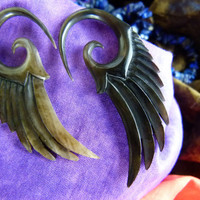 4mm Horn Feather Earrings  -  4mm / 6 Gauged Organic Horn - Handcrafted 6g Horn Black Earrings *B008