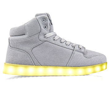 J-Walkers Grey Canvas - High Top LED Shoes