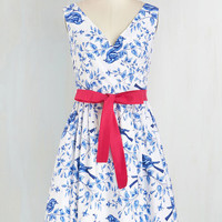 Mid-length Sleeveless Fit & Flare In the Key of Chic Dress in Birdsong by Bea & Dot from ModCloth
