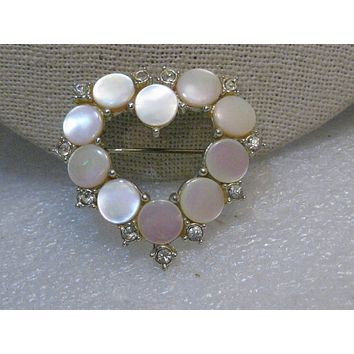 "Vintage Mother-of-Pearl Heart Brooch w/Rhinestones, Pink, 1.5"", Silver Tone, 1960's"