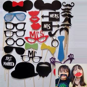 31Pcs Wedding Photo Booth  Costume Props Picture Frame Dress Up Mask Hen Party Game = 1932529860