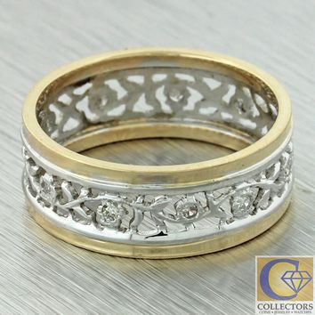 Antique Art Deco 14k Yellow White Multi Gold Diamond 7mm Wide Floral Band Ring