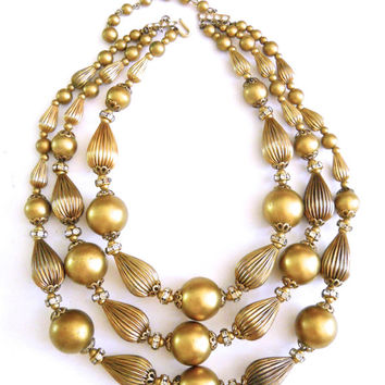 Trifari Necklace 3 Multi Strand Rhinestone Rondelles Antique Gold Vintage
