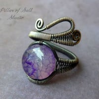 Wire Wrapped Ring, wire wrapped jewelry handmade sterling silver ring, Purple agate gemstone, antiqued silver jewelry, silver filled wire