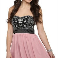 Strapless Short Prom Dress with Vintage Bodice