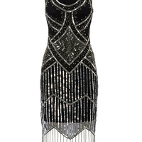 UK18 US14 Black Vintage inspired 1920s vibe Flapper Great Gatsby Beaded Charleston Sequin Art Deco Wedding Party  Fringe Dress New Hand Made