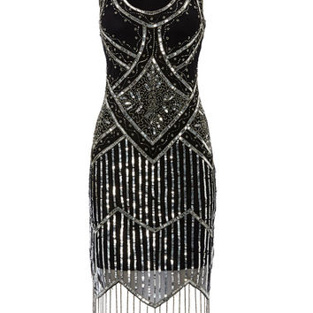 UK8 US4 AUS8 Isobel Black Vintage inspired 20s Flapper Great Gatsby Beaded Charleston Art Deco Bridesmaid Wedding Fringe Dress New Hand Made