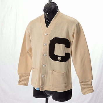 Vintage 40s 50s Imperial Art Kote Wool Basketball Letterman Sweater Knit Jacket College School Cardigan 1940s 1950s Collegiate size 38