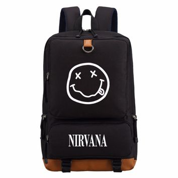 NIRVANA Smiley Face KURT COBAIN rock In Utero backpack Men women's Student School Bags travel Shoulder Bag Laptop Bag