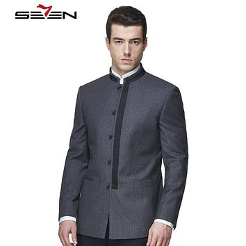Men Suits Tailor Made Mandarin Collar Casual Tops Blazer Fashion Handmade Custom Made Wool Suits