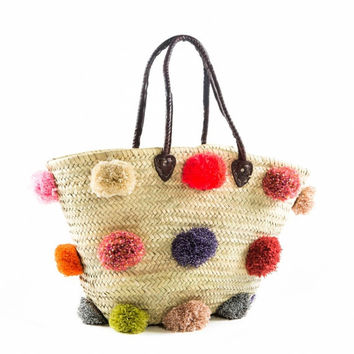 Moroccan French PomPom Basket, Pom Pom Basket, Pom Pom, French Basket, Tote Basket, Tote, Beach Basket, Beach Bag, Market Basket, Summer