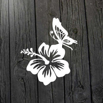 Butterfly hibiscus decal Hibiscus butterfly decal Butterfly car decal Hibiscus car decal Butterfly sticker Hibiscus sticker Hibiscus flower