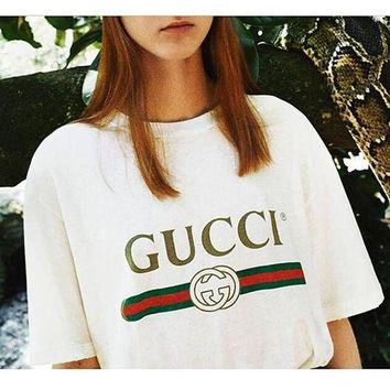 Gucci Women Fashion print Short Sleeve Tunic Shirt Top Blouse