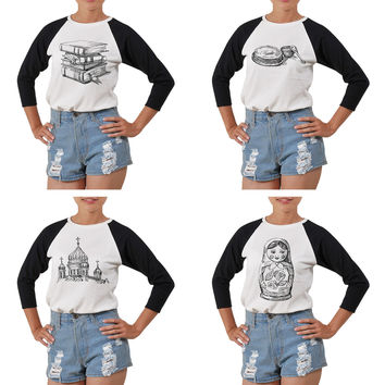 Women's Set of Russia Icons Printed Elbow Sleeves T- Shirt WTS_03