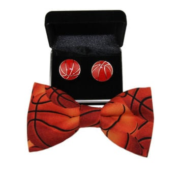 Men Basketball Clip On Bow Tie and Stainless Steel Cuff Links