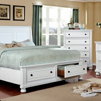 5 pc Castor collection white finish wood w/ drawers in footboard queen bedroom set