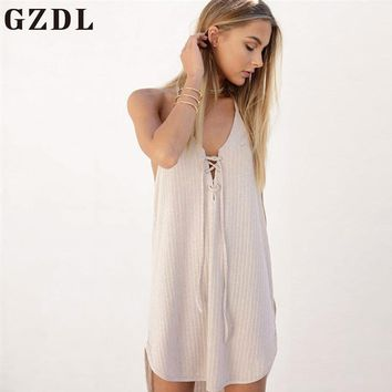 GZDL Halter Off Shoulder Summer Women's Beach Casual Dress Lace Up Tie Sleeveless Backless Knitted Solid Straight Dresses CL3695