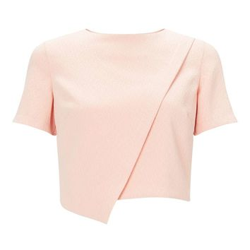 Nude Crepe Asymmetric tee - Miss Selfridge