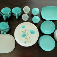 Melmac Turquoise and White Plates, Cups, Servers, Sugar and Creamer Mid Century Modern Huge Lot 76 Pieces