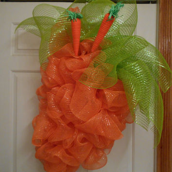 Carrot Wreath-Easter Wreath-Spring Wreath-Outdoor Wreath-Indoor Wreath-Deco Mesh Wreath-Mesh Wreath-Orange Wreath-Summer Wreath